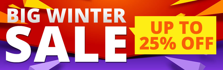 Big winter sale banner for top category and garden shed