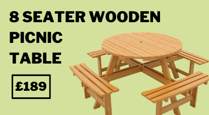 Windsor 8 Seater Wooden Picnic Table