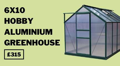 6x10 Green Rosette Hobby Aluminium Greenhouse