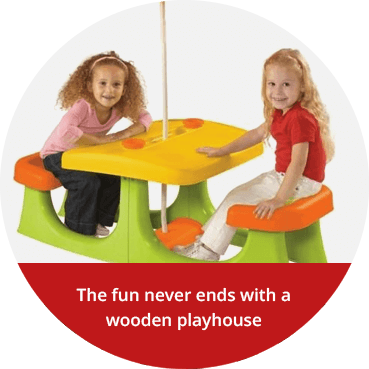 The fun never ends with a wooden playhouse