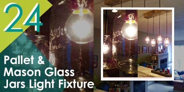 Pallet and Mason Glass Jars Light Fixture