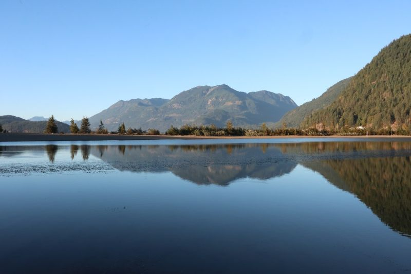 low-shot of a lake with tall trees and green mountains behind and reflected with a blue sky