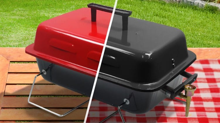 BillyOh portable gas tabletop BBQ split between black and red models on wooden table with gingham cloth