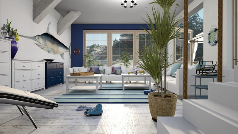 Beach house interior with plants, nautical theme, blue and white colours and swordfish mural