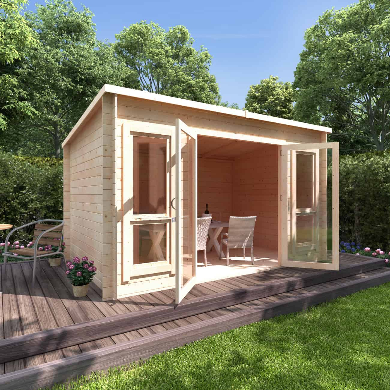 BillyOh Carmen Pent roof wooden log cabin on a raised patio in a garden