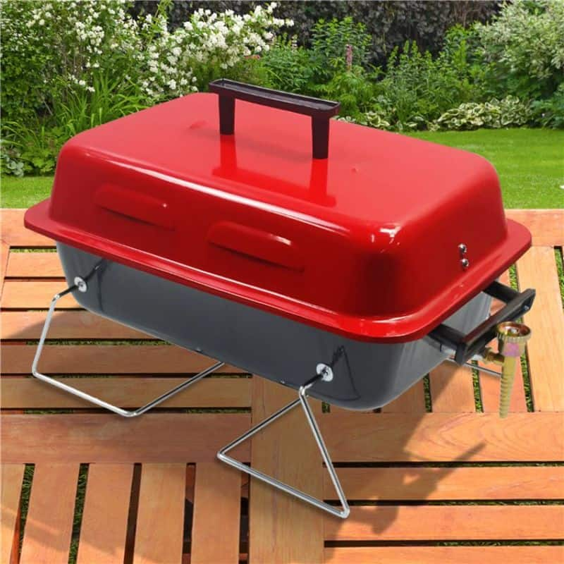 billyoh-tabletop-bbq in black and red on wooden table
