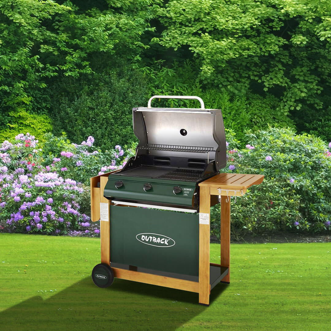 Image of Outback Hunter 3 Burner Hooded Gas Barbecue