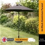 2m Sturdi Plus Aluminium Push Up Garden Parasol - Black