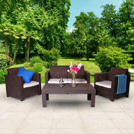 Keter Limousine Rattan Style 4 Seat Garden Furniture Lounge Set - Includes Cushions