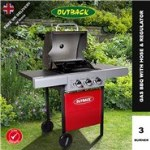 Outback Meteor Hooded Red Gas BBQ - 3 or 4 Burner with Hose & Regulator