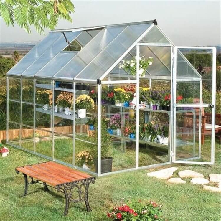 BillyOh 3000M Easy Fit Aluminium Silver Greenhouse with Base and Opening Vent