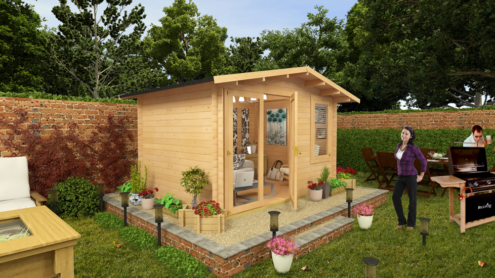 BillyOh Lodge Log Cabin 3.5m x 3.0m Modern Glazing