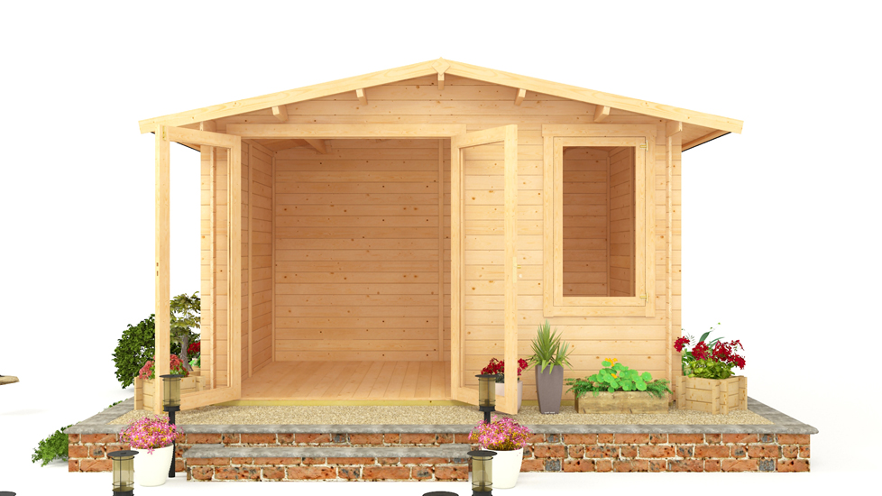 BillyOh Lodge Log Cabin 3.5m x 3.0m Double Doors