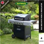 Outback Meteor Hooded Blue Gas BBQ - 4 Burner with Hose & Regulator