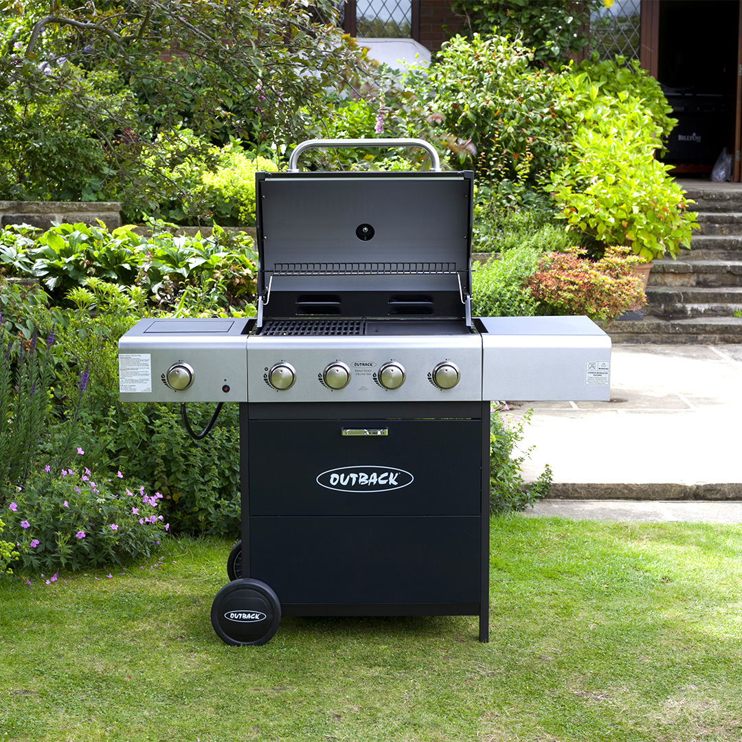 Image of Outback Blue Meteor 4 Burner Gas BBQ Barbecue
