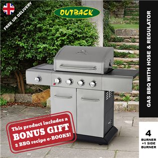 Outback Meteor Hooded Stainless Steel Gas BBQ - 4 Burner with Hose & Regulator