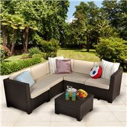 Keter Rattan Provence 5 Seat Corner Sofa Set - Includes Cushions