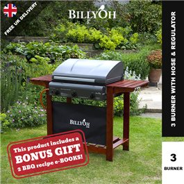 BillyOh Acorn Hooded Gas BBQ - 2,3,4 or 6 Burner with Hose & Regulator