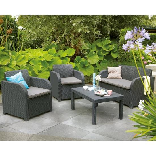 Image of Keter Rattan Allibert Carolina 4 Seat Lounge Outdoor Set