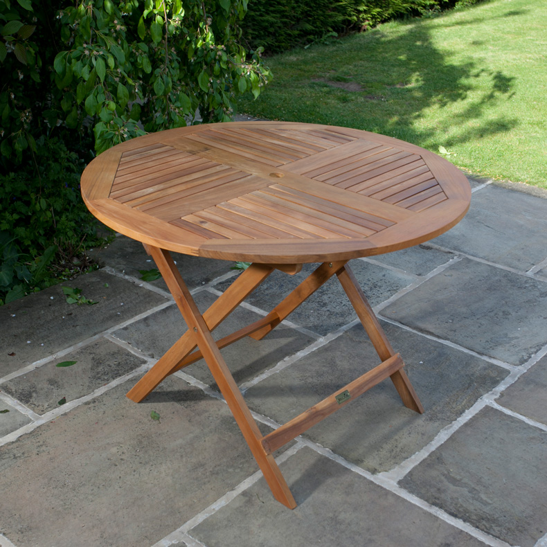 BillyOh Windsor Acacia Wooden Garden Table - 1.0m Round Folding