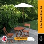 BillyOh Hampton 0.6m Round Bistro Set - 2 Seat Set with Folding Chairs