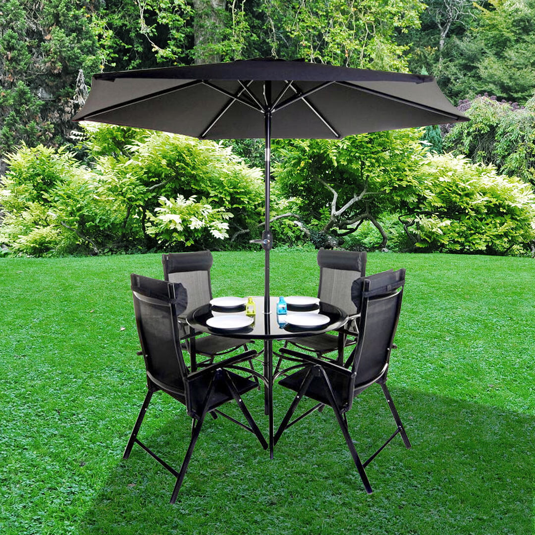 Billyoh Comfort 4 Seater Black Round Metal Garden Furniture Set
