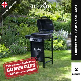 BillyOh Patio Grill 2 Burner Hooded Gas BBQ - with Hose & Regulator
