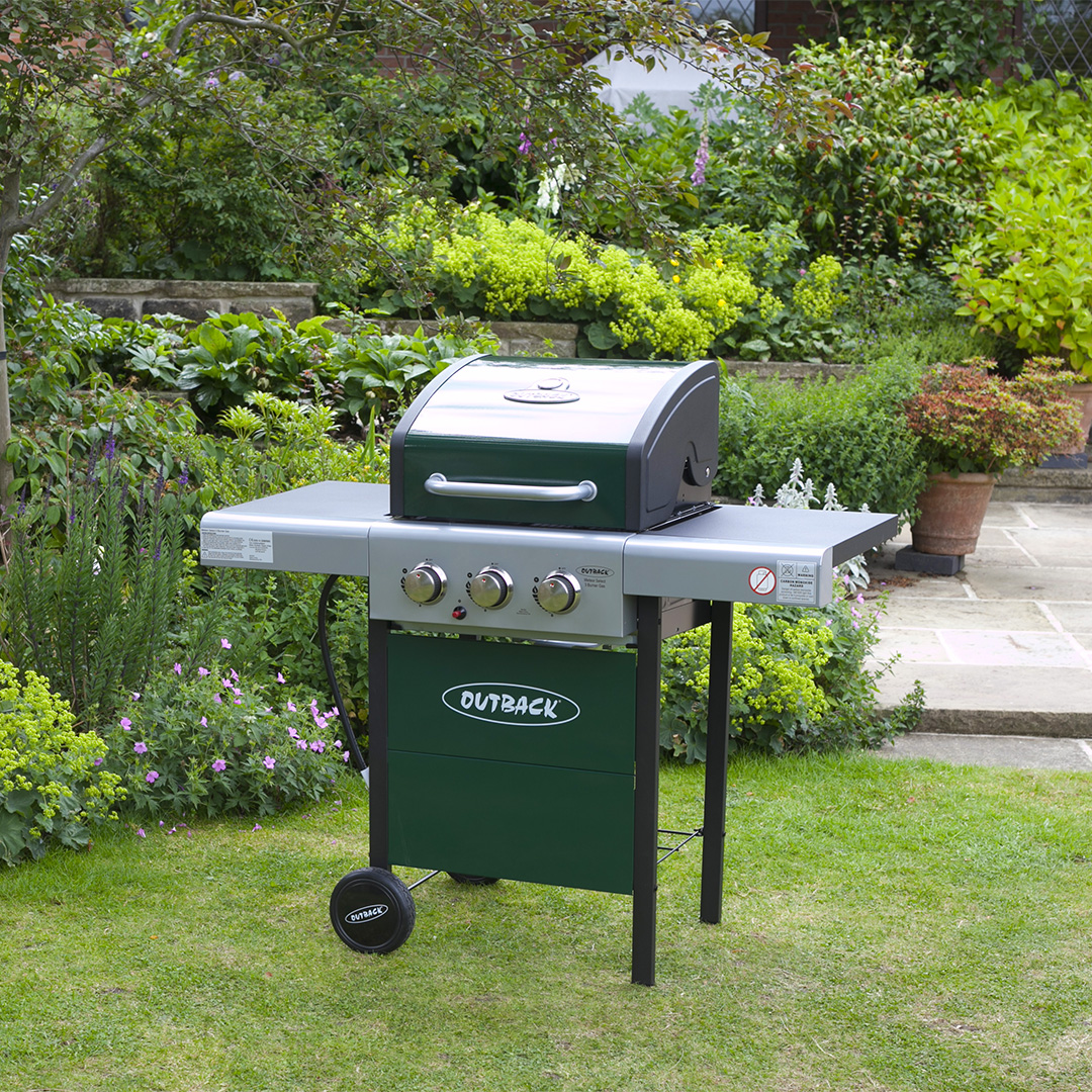 Image of Outback Meteor Hooded 3 Burner Green Gas Barbecue