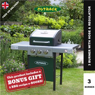 Outback Meteor Hooded 3 Burner Green Gas Barbecue - With Hose & Regulator