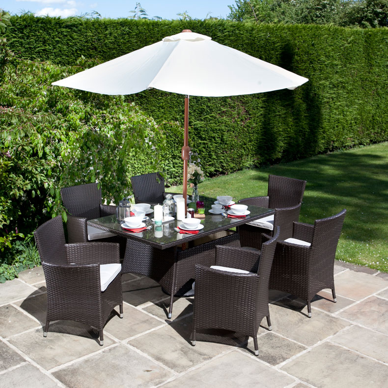 BillyOh Rosario 6 Seater Flat Weave Rattan Rectangular Dining Set