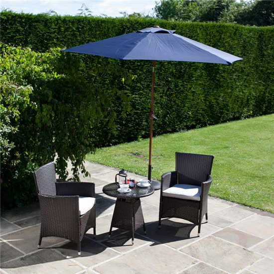 BillyOh Rosario Flat Weave Bistro 2 Seater Set Includes Cushions with Optional Parasol