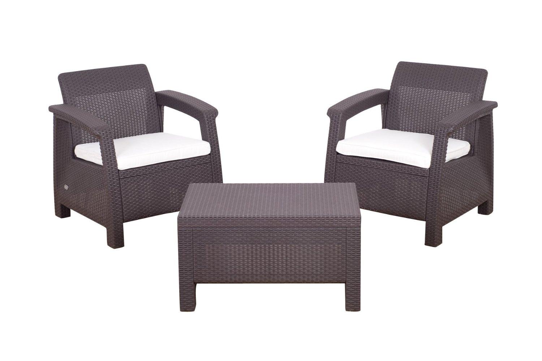 Image of Keter Corfu Balcony Rattan 2 Seat Bistro Set Garden Furniture