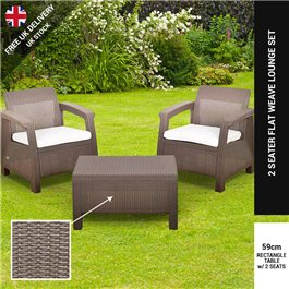 Keter Corfu Balcony Rattan 2 Seat Bistro Set - Includes Cushions