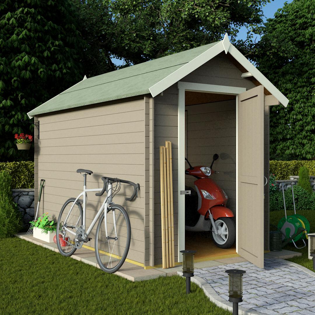 billyoh 10 x 6 19mm log cabin heavy duty garden shed