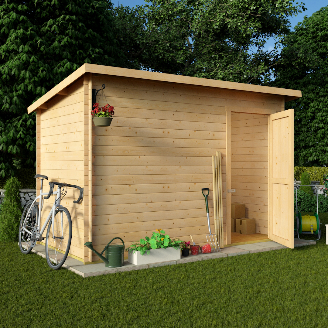 billyoh 10 x 6 pent log cabin windowless heavy duty shed garden log cabin