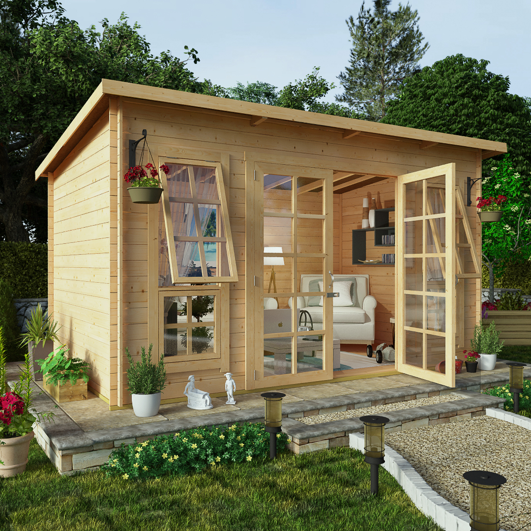 BillyOh 12 x 8 Pent Log Cabin Summerhouse 19mm Central Doors