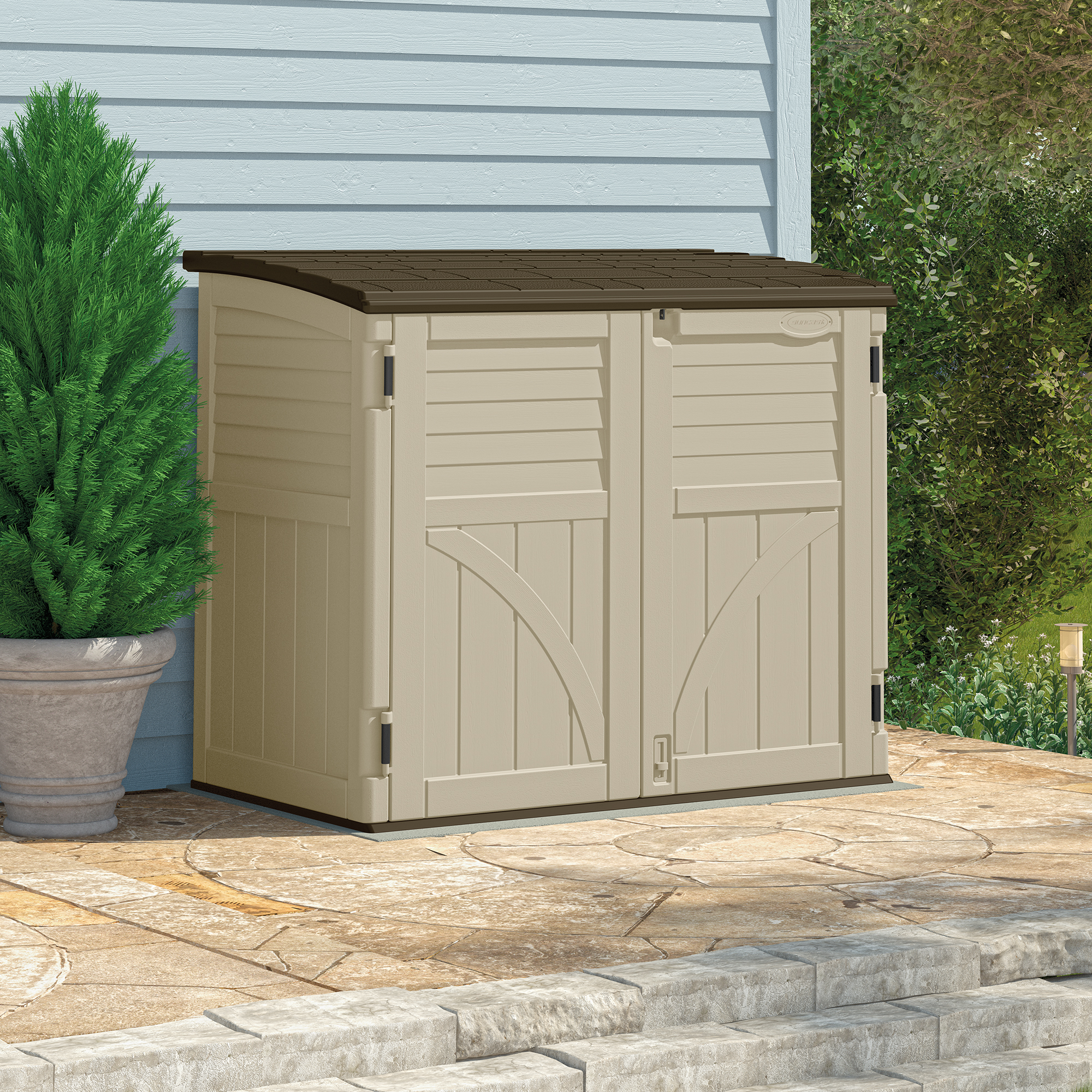 Image of BillyOh Suncast 34ft Horizontal Plastic Storage Garden Shed
