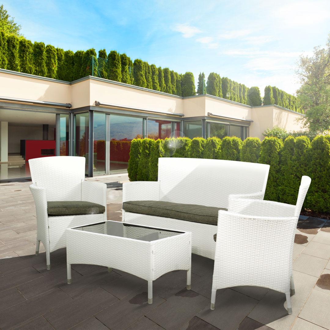 BillyOh Flat Weave Rattan Furniture White lounge 4 Seater Set