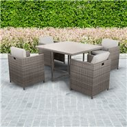 BillyOh Rosario Rattan Cube Set - 4-Seat Family Modular Dining Set in Natural with Cushions
