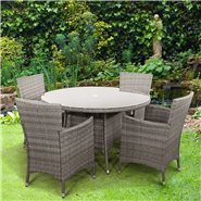 BillyOh Rosario Round Dining Set - 4 Seat Rattan Set in Natural with Cushions