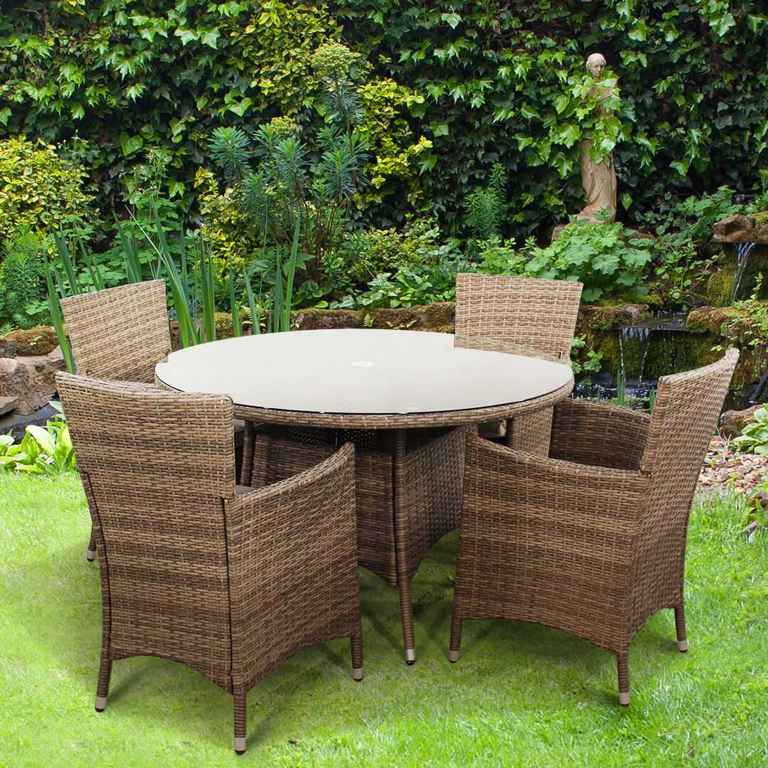 Image of BillyOh Rosario Flat Weave 120cm Round Dining Set - Includes Cushions