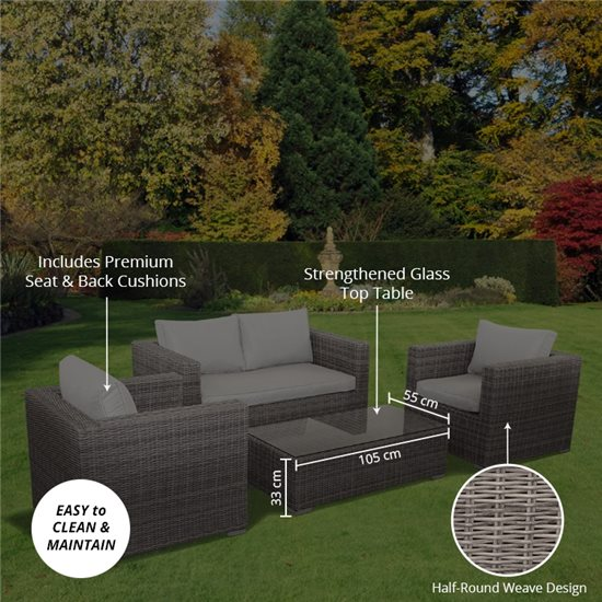 4-Seat sun lounger set Natural