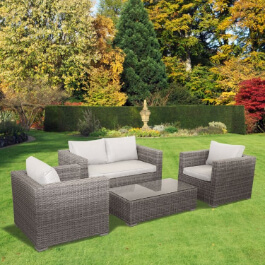 BillyOh Sala Lounge Set - 4 Seat Rattan Sofa Set in Natural with Seat & Back Cushions