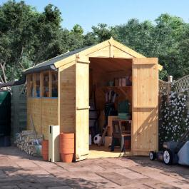 BillyOh 8x6 Master Tongue and Groove Apex Windowed Double Door Shed including Floor, Roof, Felt
