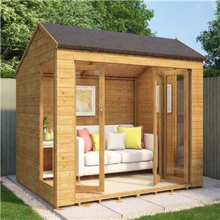 Monte Carlo 8x6 Wooden Garden Summerhouse Sunroom With French Doors