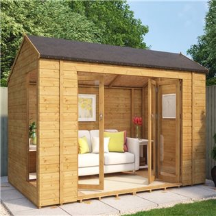 Monte Carlo 10 x 6 Wooden Garden Summerhouse Sunroom With French Doors