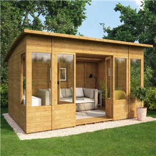12 x 8 Verano Wooden Garden Summerhouse Sunroom With Tongue and Groove Cladding