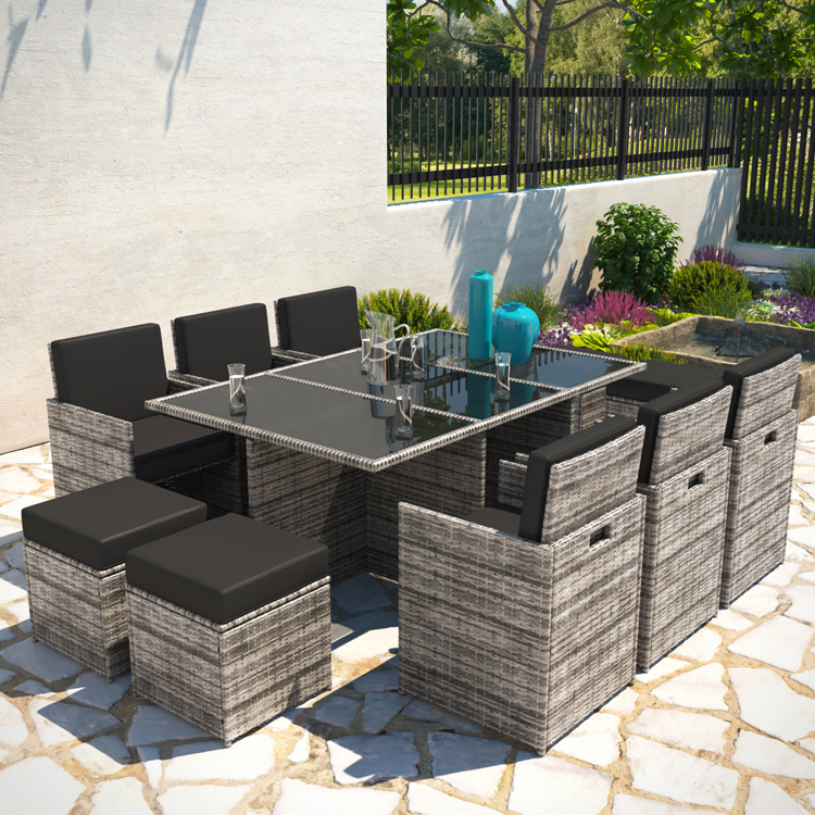 10 Seater Cube Outdoor Rattan Garden