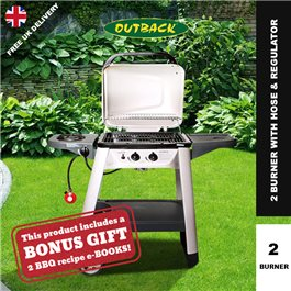 Outback Excel 300 2 Burner Gas Barbecue - With Hose & Regulator