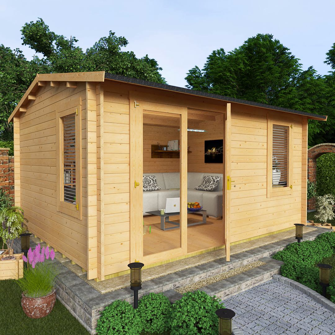 Billyoh 4 5 x 3 5 35mm devon garden log cabin sheds for Garden shed 5 x 4